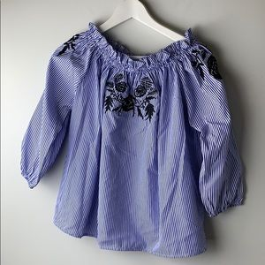 Katsumi off  the shoulder blue stripe top small
